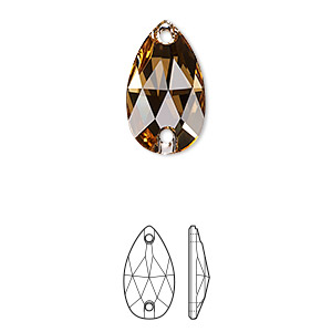 sew-on component, swarovski crystals, light colorado topaz, foil back, 18x10.5mm faceted pear flat back with 2 holes (3230). sold per pkg of 72.