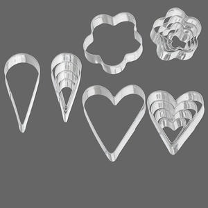 shape cutters, steel, (5) 18x18mm-44x37mm graduated hearts / (5) 17x9mm-45x15mm graduated teardrops / (5) 11x10mm-30x29mm graduated flowers. sold per 15-piece set.