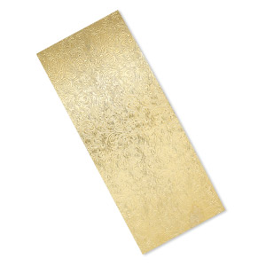 sheet, brass, 6x2-1/2 inch single-sided rectangle with embossed floral pattern, 24 gauge. sold individually.