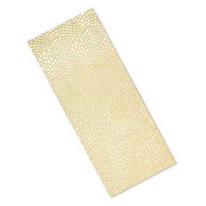 sheet, brass, 6x2-1/2 inch single-sided rectangle with embossed reptile skin pattern, 24 gauge. sold individually.