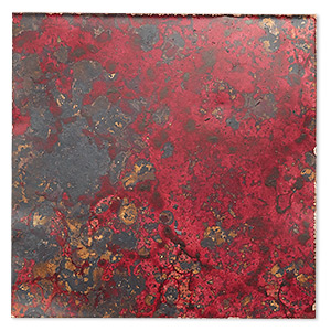 sheet, lillypilly, lacquered copper, wild fire patina, 3-inch single-sided square, 36 gauge. sold individually.