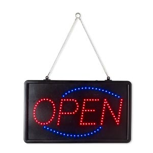 sign, steel and acrylic with led light, black/red/blue, 22 x 12-7/8 x 1-1/2 inch rectangle with open and 13-inch hanging chain. sold individually.