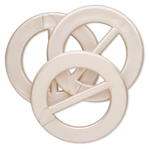 slide, acrylic, pearlized beige, 3-inch round. sold per pkg of 3.