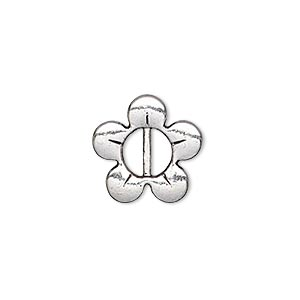 slide, antiqued silver-finished pewter (zinc-based alloy), 16x16mm single-sided flower, 7x2.5mm hole. sold per pkg of 20.