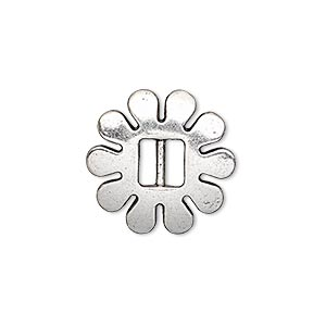 slide, antiqued silver-finished pewter (zinc-based alloy), 20x20mm single-sided flower, 6x2.5mm hole. sold per pkg of 6.