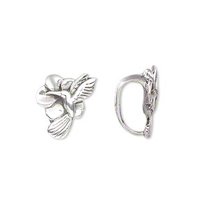 slide, antiqued sterling silver, 16x11.5mm hummingbird with flower, 5mm hole. sold individually.
