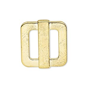 slide, gold-finished pewter (zinc-based alloy), 25x23mm single-sided rectangle, 14x4mm hole. sold per pkg of 4.