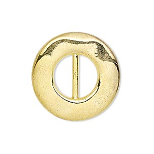 slide, gold-finished pewter (zinc-based alloy), 26mm single-sided dented round, 11x5mm hole. sold per pkg of 4.