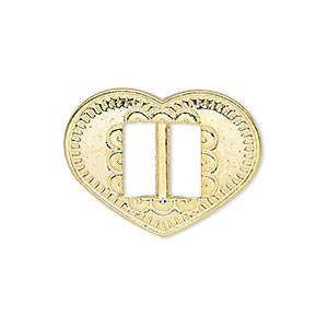 slide, gold-finished pewter (zinc-based alloy), 27x21mm single-sided textured heart, 9.5x4mm hole. sold per pkg of 4.