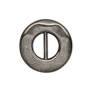 slide, gunmetal-finished pewter (zinc-based alloy), 26mm single-sided dented round, 11x5mm hole. sold per pkg of 4.