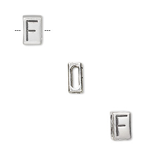 slide, sterling silver, 8.5x5.5mm double-sided alphabet block letter f with 6x2mm hole. sold individually.