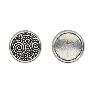 snap cap, tierracast, glue-on, antique pewter (tin-based alloy), 15mm single-sided round with swirl design and love. sold per pkg of 2.
