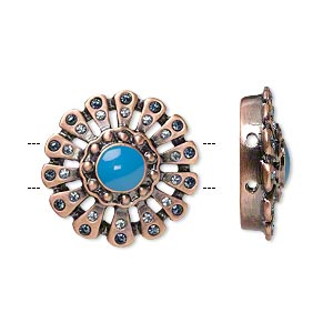 spacer, antique copper-plated pewter (zinc-based alloy)/glass/epoxy, clear and turquoise blue, 21x21mm 2-strand flower with rhinestones, 5mm between holes. sold per pkg of 2.