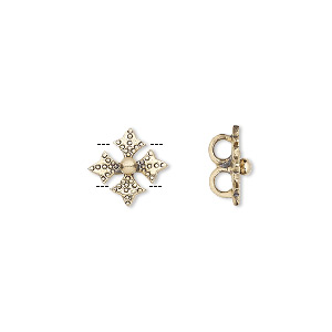 spacer, antiqued brass, 11x11mm 2-strand textured cross, fits up to 3.5mm bead. sold per pkg of 6.