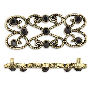 spacer, antiqued gold-finished pewter (zinc-based alloy) and czech glass rhinestone, black, 39x18mm 2-strand fancy rectangle. sold per pkg of 4.