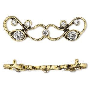 spacer, antiqued gold-finished pewter (zinc-based alloy) and czech glass rhinestone, clear, 45x13mm 2-strand with fancy design. sold per pkg of 4.