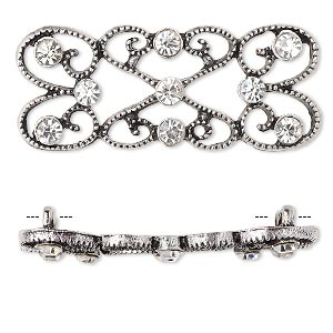 spacer, antiqued silver-finished pewter (zinc-based alloy) and czech glass rhinestone, clear, 39x18mm 2-strand fancy rectangle. sold per pkg of 4.