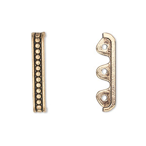 spacer bar, antique gold-finished pewter (zinc-based alloy), 24x4mm single-sided 3-strand beaded, fits up to 7.5mm bead. sold per pkg of 20.