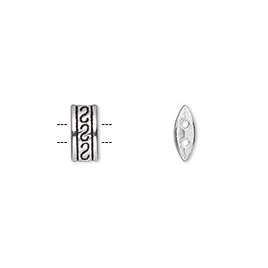 spacer bar, antique silver-plated pewter (zinc-based alloy), 10x4.5mm 2-strand double-sided fancy rectangle with triple s design, fits up to 3mm bead. sold per pkg of 50.