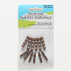 spacer bar, antiqued copper-finished pewter (zinc-based alloy), 19x3mm 5-strand rectangle with line and dot design and 22x5mm 4-strand drum with line and dot design. sold per pkg of 12.