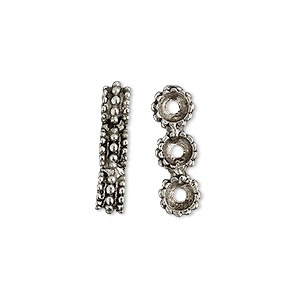 spacer bar, antiqued pewter (tin-based alloy), 19x4mm 3-strand studded rondelle, fits up to 6mm bead. sold per pkg of 4.