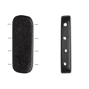 spacer bar, bone (dyed), black, 28x9mm-30x11mm 4-strand rounded flat rectangle. sold per pkg of 16.