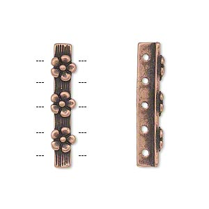 spacer bar, jbb findings, antique copper-plated pewter (tin-based alloy), 26x5mm 5-strand single-sided bar with flower design, fits up to 4mm bead. sold individually.