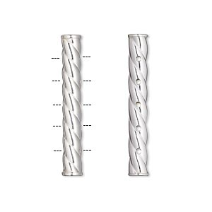 spacer bar, sterling silver, 29.5x4mm 5-strand round tube with swirl. sold individually.