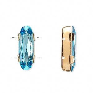 spacer bar, swarovski crystals and gold-plated brass, aquamarine, silver-foil back, 21x8mm double-drilled single-stone faceted oval, 8mm between holes. sold per pkg of 24.