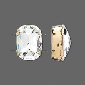 spacer bar, swarovski crystals and gold-plated brass, crystal clear, silver-foil back, 18x13mm double-drilled single-stone faceted rounded rectangle, 8mm between holes. sold per pkg of 24.