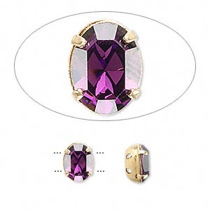 spacer bar, swarovski crystals and gold-plated brass, crystal passions, amethyst, 8x6mm double-drilled faceted oval, fits up to 3mm bead. sold per pkg of 24.