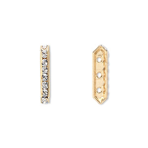 spacer bar, swarovski crystals and gold-plated brass, crystal passions, crystal clear, 17.5x2.5mm 3-strand, fits up to 4mm bead. sold per pkg of 4.