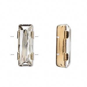 spacer bar, swarovski crystals and gold-plated brass, crystal silver shade, 21x8mm double-drilled single-stone faceted rectangle, 8mm between holes. sold per pkg of 144 (1 gross).
