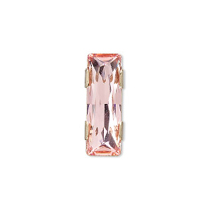 spacer bar, swarovski crystals and gold-plated brass, light rose, 21x8mm 2-strand rectangle (11004), fits up to 8mm bead. sold per pkg of 24.