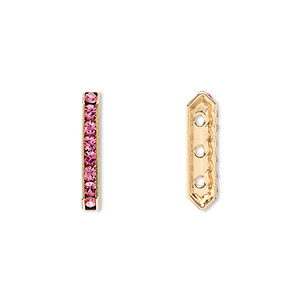spacer bar, swarovski crystals and gold-plated brass, rose with silver-foil back, 17.5x2.5mm 3-strand multi-stone rectangle with 4mm between holes, eight size pp16 chatons. sold per pkg of 4.