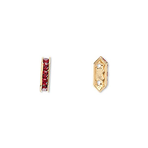 spacer bar, swarovski crystals and gold-plated brass, siam with silver-foil back, 10.5x2.5mm 2-strand multi-stone rectangle with 4mm between holes, five size pp16 chatons. sold per pkg of 144 (1 gross).