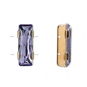 spacer bar, swarovski crystals and gold-plated brass, tanzanite, 21x8mm double-drilled single-stone faceted rectangle, 8mm between holes. sold per pkg of 144 (1 gross).