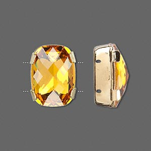 spacer bar, swarovski crystals and gold-plated brass, topaz, silver-foil back, 18x13mm double-drilled single-stone faceted rounded rectangle, 8mm between holes. sold individually.