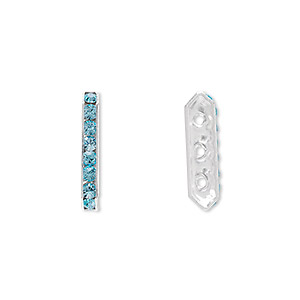 spacer bar, swarovski crystals and rhodium-plated brass, aquamarine, 17.5x2.5mm 3-strand 6-sided (77719), fits up to 4mm bead. sold per pkg of 144 (1 gross).