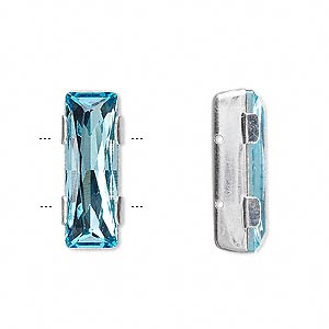 spacer bar, swarovski crystals and rhodium-plated brass, crystal passions, aquamarine, 21x8mm 2-strand rectangle (11004), fits up to 8mm bead. sold individually.