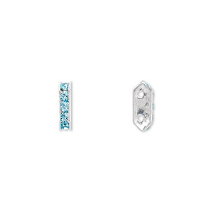 spacer bar, swarovski crystals and rhodium-plated brass, crystal passions, aquamarine, 10.5x2.5mm 2-strand 6-sided (77710), fits up to 4mm bead. sold per pkg of 4.