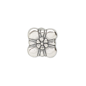 spacer bead, jbb findings, sterling silver, 15mm 3-strand box with flower. sold individually.