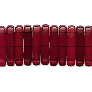 spacer, czech pressed glass, garnet red, 21x5mm 3-strand bar. sold per pkg of 20.