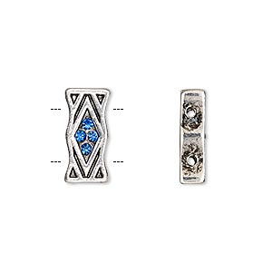 spacer, glass rhinestone and antique silver-finished pewter (zinc-based alloy), blue, 15.5x7.5mm single-sided 2-strand rectangle with diamond design, fits up to 6mm bead. sold per pkg of 2.