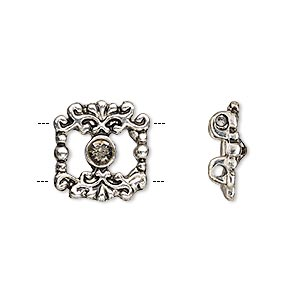 spacer, glass rhinestone and antique silver-finished pewter (zinc-based alloy), smoky black, 15x14mm single-sided fancy open square, fits up to 5mm bead. sold per pkg of 2.