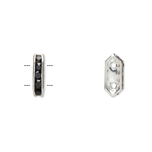 spacer, glass rhinestone and silver-plated brass, black, 11x2.5mm 2-strand bridge, fits up to 4.5mm bead. sold per pkg of 10.
