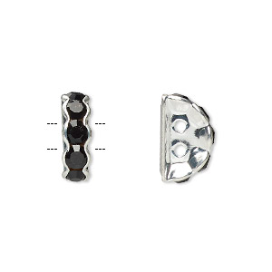 spacer, glass rhinestone and silver-plated brass, black, 12x4mm 2-strand half-round bridge, fits up to 3.5mm bead. sold per pkg of 10.