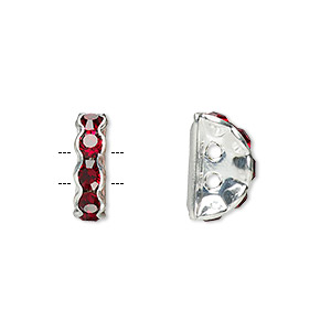 spacer, glass rhinestone and silver-plated brass, garnet, 12x4mm 2-strand half-round bridge, fits up to 3.5mm bead. sold per pkg of 10.