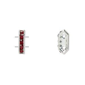 spacer, glass rhinestone and silver-plated brass, garnet color, 11x2.5mm 2-strand bridge, fits up to 4.5mm bead. sold per pkg of 10.