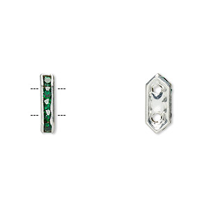 spacer, glass rhinestone and silver-plated brass, green, 11x2.5mm 2-strand bridge, fits up to 4.5mm bead. sold per pkg of 10.